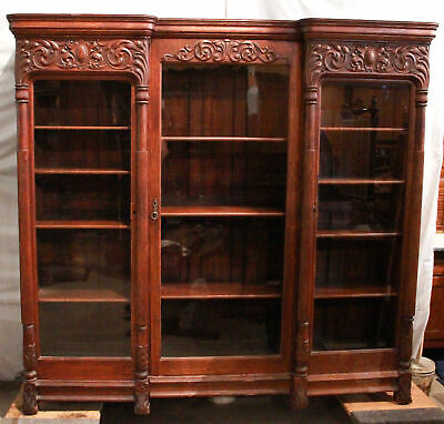 Antique Large Triple Door carved Oak Bookcase - Wall Display Unit