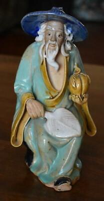 Wonderful Antique Chinese Export Mudman Mudmen Seated Figure With Peach And Fan