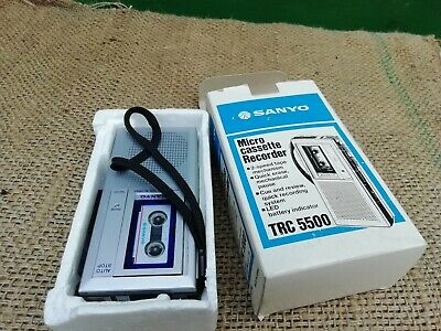 Sanyo Micro Cassette Recorder Trc 5500 Hand Held Dictaphone Boxed Working