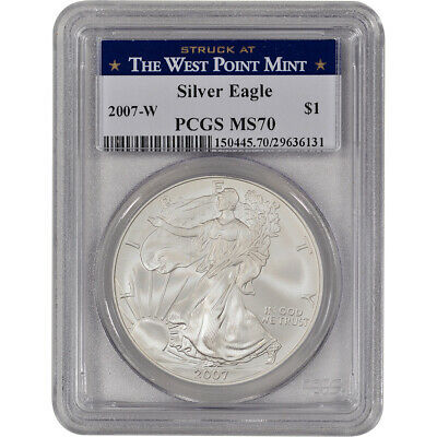 2007-W American Silver Eagle Uncirculated Burnished - PCGS MS70 West Point Label