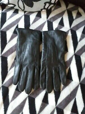 Ladies Black Leather Gloves Small Excellent Condition