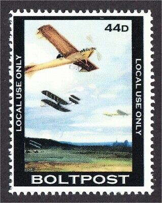 Pioneer Airplane Over a Field Fantasy Stamp Artistamp by BoltPost Local Post
