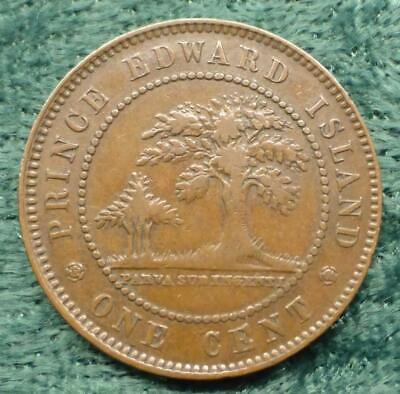 1871 Bronze Canada Queen Victoria Prince Edward Island One Cent Coin, 1 Cent