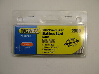 2nd fix collated Stainless Steel straight brad nails 18 gauge 15mm box of 2000
