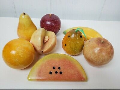 Lot of 8 Pieces Alabaster Fruit Stone Apple Peach Watermelon Banana Pineapple