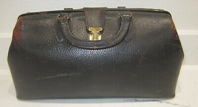 Vtg. Schell Top Grain Cowhide Black Leather Doctor's Medical Bag - Steampunk