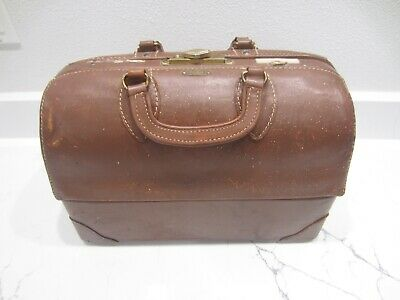 Vtg. Emdee Schell Top Grain Cowhide Leather Doctor's Medical Bag - Steampunk