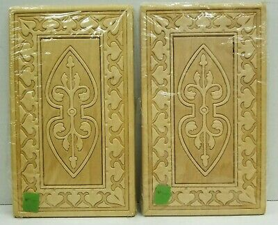 Retro Vintage Unpainted Wood Carved Panels Crafts Door Cabinet Wall 1960s
