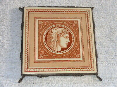 Antique MINTONS China Works Stoke on Trent Classical Tile in Fancy Wire Trivet