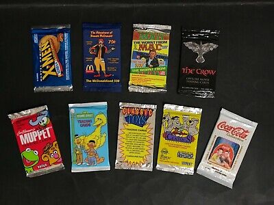 Trading Card Full Unopened Lot Of 9 Packs Inc: X-Men, Classic Toys, The Crow Etc