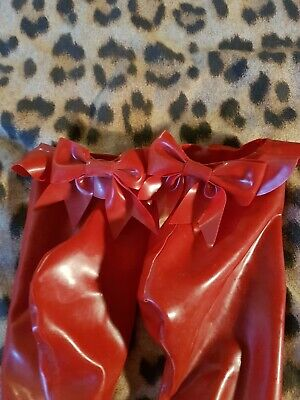 Latex Gummi Rubber Fetish Lolita Cute Dolly Red Bow Ankle Socks Very Rare 5/6