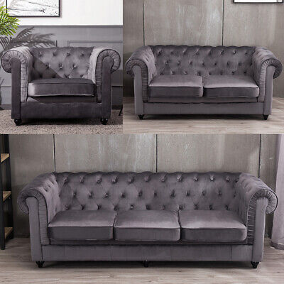 1 2 3 Seater Velvet Chesterfield Armchair Sofa Settee Couch Wooden Leg Lounge