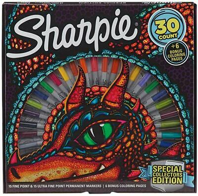 Sharpie Special Edition 36 Permanent Markers & Dragon Coloring Pages Set