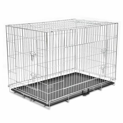 vidaXL Foldable Dog Bench XXL Metal Pet Transport Travel Carrier Crate Cage