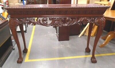 CHIPPENDALE Reproduction Carved Mahogany Ball & Claw Console Table  - CS I12