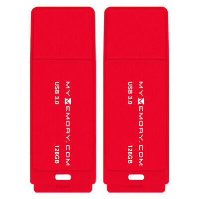 MyMemory 128GB USB 3.0 Flash Drive Memory Stick Pen Thumb 200MB/s Red 2 Pack New