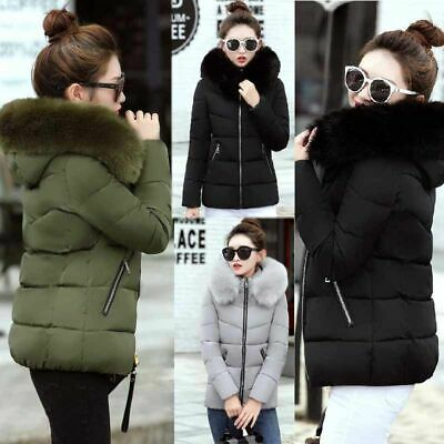 Winter Women Down Cotton Parka Short Fur Collar Hooded Coat Quilted Jacket Tops