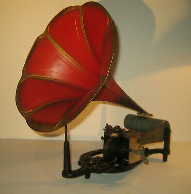 Lyre Rouge Puck Cylinder Phonograph Pavillon Rouge/Or, Red/Gold Horn Original