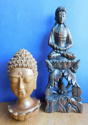 AUC1 2 Vintage Balinese Hand Carved Wooden Statues Buddha Head & Meditation