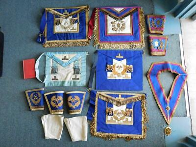 Vintage Masonic Lodge Case with 5 Aprons Cuffs Sash Etc Freemasons