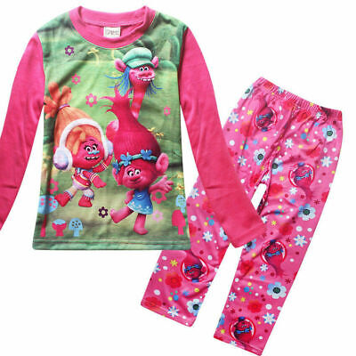 Kids Girls Trolls Cartoon Pyjamas 2 Pcs Set night wear Pajama