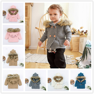 Newborn Baby Hooded Jacket Knitted Coat Sweater Winter Warm Outerwear Outfits