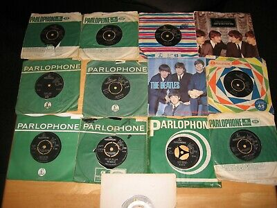 THE BEATLES JOB LOT COLLECTION OF 13 UK some 1ST(7) PRESSING SINGLES & SLEEVES