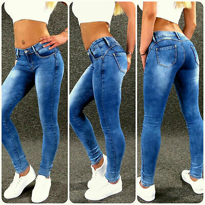 Push Up Stretch Jeans Gr: S 36 Blau Zazou sexy Damen Skinny Hose M1864