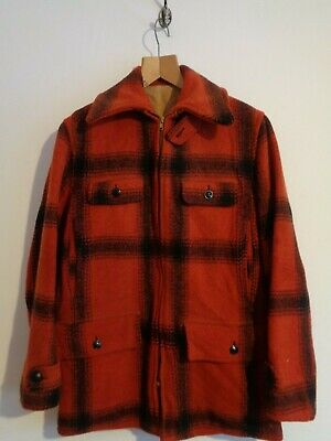 Vtg 50s red black checked wool rockabilly hunting work coat jacket