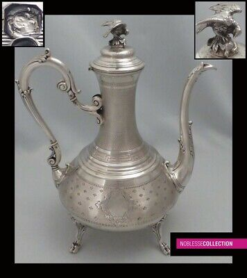 LARGE ANTIQUE 1890s FRENCH STERLING SILVER TEAPOT Napoleon III Eagle grip 11 in.