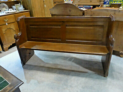 Vintage Solid Oak Pew with Shaped Ends with Shelf on Back