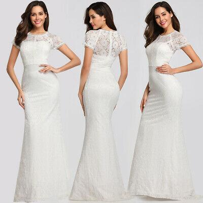 UK Ever-Pretty Vitange Floral Lace Bridesmaid Dresses Mermaid Evening Party Gown
