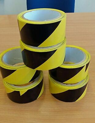48mm x 22m BLACK /YELLOW  ROLL. HAZARD SAFETY CAUTION WARNING SELF ADHESIVE TAPE