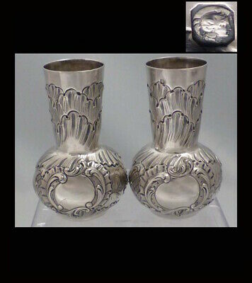 LOVELY PAIR OF ANTIQUE 1900s FRENCH STERLING SILVER VASES/URNS Rococo style