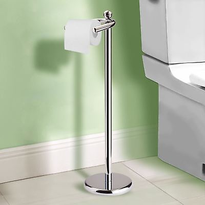 Toilet Roll Paper Holder Floor Free Standing Chrome Bathroom with Weighted Base