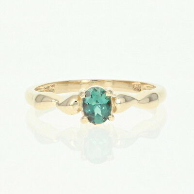 Alexandrite Solitaire Ring - 14k Yellow Gold Oval Brilliant .35ct