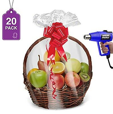 """Shrink Wrap Basket Bags for Gift Baskets 20 Pack 24"""" x 30""""  Clear Cellophane ..."""