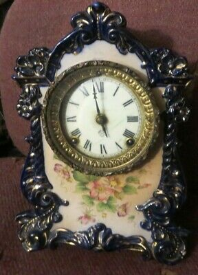 "Antique Ansonia Blue Porcelain Mantel Clock ""Witch"" Model"