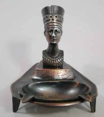 BEAUTIFUL VINTAGE ART DECO EGYPTIAN FIGURE on CAST COPPERED BRASS ASHTRAY