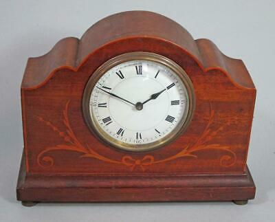 BEAUTIFUL VINTAGE ANTIQUE INLAID MAHOGANY MANTLE CLOCK timepiece