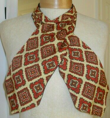 Vtg Mustard And Red Gents Cravat Backed In Plain Navy Dandy Steampunk Free Post