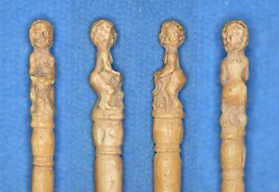 Ancient Egyptian supposedly Late 1 Millennium BC Bone PIN with GODDESS & LION.