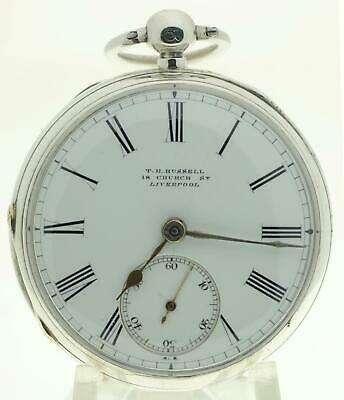 Solid sterling silver English fusee lever pocket watch 1883 cleaned & working
