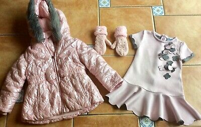 Mustsee Designer * Ariana Dee Pink Coat * Pink Gloves * Special Day Dress 4yr