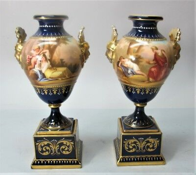 Fine Pair of 19th C. ROYAL VIENNA HAND-PAINTED Urn Vases  c. 1890  antique