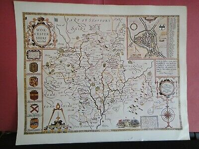Worcestershire Replica of Map by John Speed, 1631 Antique Maps of Britain No.50