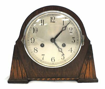 Vintage Mantle MANTEL CLOCK Wooden Case Art Deco Style With Pendulum + Key - K10