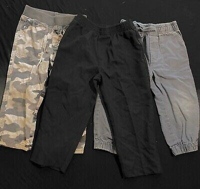 3 Pairs Of 2t Boys Pant Bottoms Gray/ Black/Army Gray No Stains Or Marks