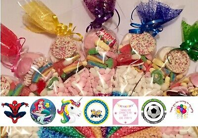 Pre filled sweet cones party bags - Free personalised stickers any text/theme