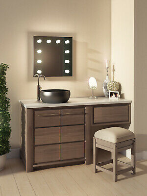 Diamond X Wallmount Hollywood Makeup Mirror with Dimmable LED